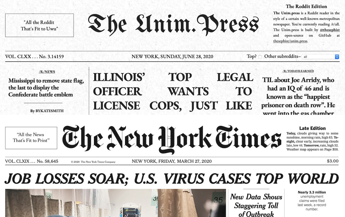 Unim.press and The New York Times's header designs